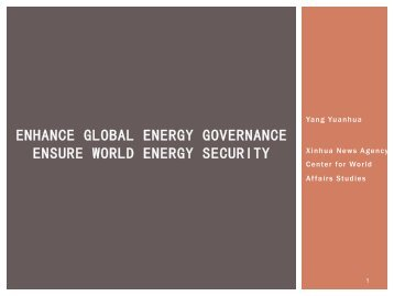 Yang Yuanhua: enhance global energy governance - ensure world ...