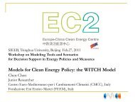Models for Clean Energy Policy: the WITCH Model - Europe-China ...
