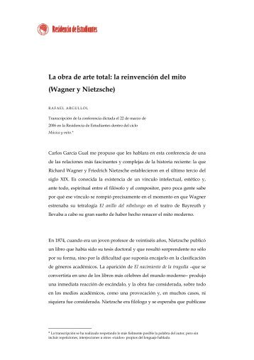 La obra de arte total: la reinvención del mito (Wagner y Nietzsche)