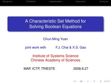 A Characteristic Set Method for Solving Boolean Equations