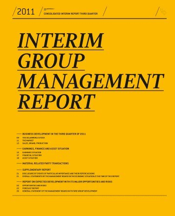 Interim group management report third quarter 2011