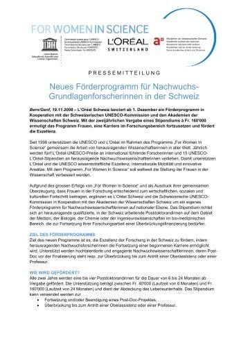 Grundlagenforscherinnen in der Schweiz - Blog @unifr