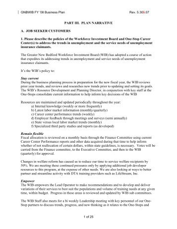 Plan Narrative - Greater New Bedford Workforce Investment Board ...