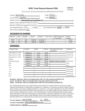 SFRC Travel Expense Request TER ACCOUNTS TO CHARGE