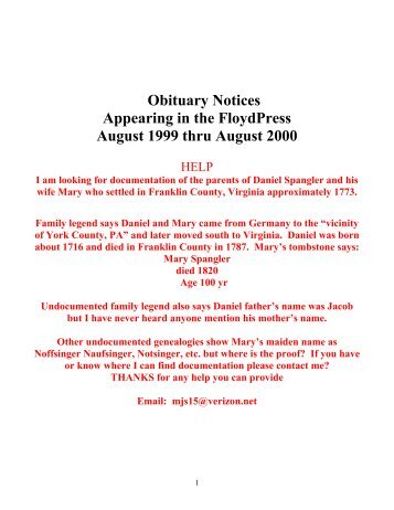 Obituary Notices Appearing in the FloydPress August 1999 thru ...
