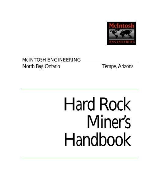Hard Rock Miner's Handbook - ufrgs