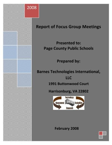Report of Focus Group Meetings - Page County Public Schools