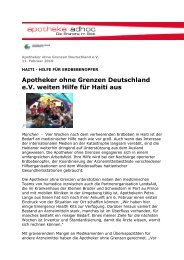 Apotheker ohne Grenzen Deutschland e.v. weiten Hilfe für Haiti aus