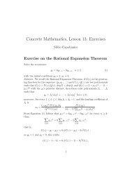 Concrete Mathematics, Lesson 13: Exercises - Cs.ioc.ee