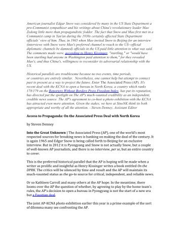 Access to Propaganda: On the Associated Press Deal - SINO-NK