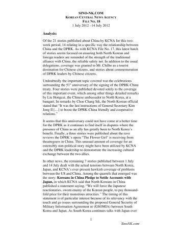KCNA File No 18 – July 1-July 14, 2012 - SINO-NK