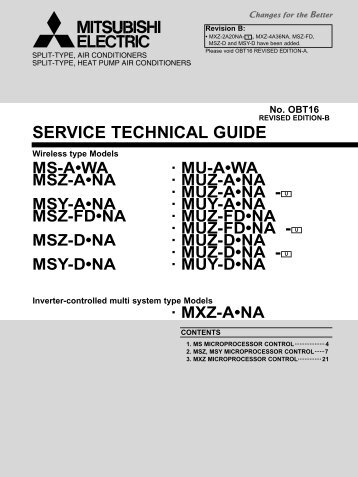 SERVICE TECHNICAL GUIDE - Mitsubishi Electric Cooling & Heating