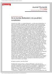 De la bombe Bolkestein à la poudrière constitution - Hussonet