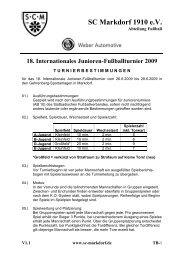 Turnierbestimmungen Jugendturnier - SC Markdorf 1910 eV