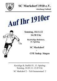 Stadionzeitschrift 18.11.2012 -- SCM I - CFE Indep. Singen