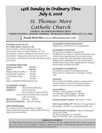 Parish Web Site - St Thomas More Catholic Church