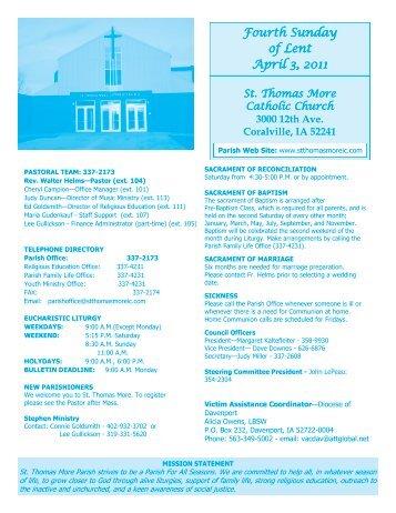 Fourth Sunday of Lent April 3, 2011 - St Thomas More Catholic Church