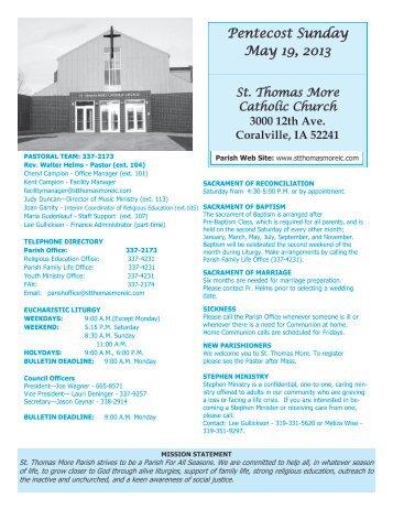 Pentecost Sunday May 19, 2013 - St Thomas More Catholic Church