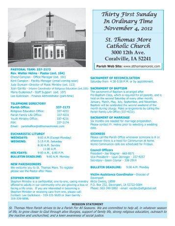 St. Thomas More Catholic Church 3000 12th Ave. Coralville, IA ...