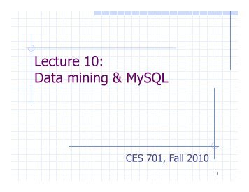 lecture on mysql 1 Mysql cluster - 1 day workshop with hands-on work   products/cluster/  lecture not part of 1-day workshop lab 7 - replication.