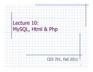 Lecture 10: MySQL, Html & Php