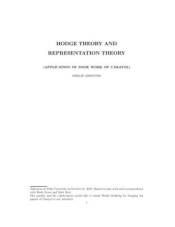 HODGE THEORY AND REPRESENTATION THEORY