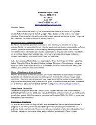 Presentación de Clase Kínder 2012-2013 Sra. Berez Aula 107 801 ...