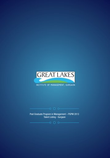 PGPM 2013 Talent Listing - Great Lakes