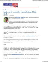 India needs a minister for marketing: Philip Kotler ... - Great Lakes