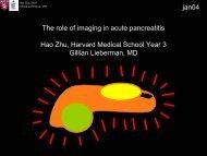 The role of imaging in acute pancreatitis Hao Zhu, Harvard Medical ...
