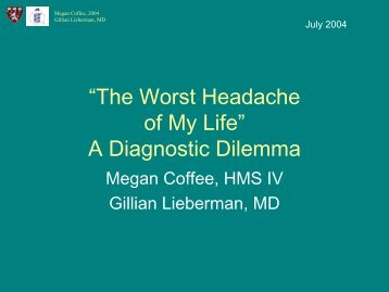 """The Worst Headache of My Life"" A Diagnostic Dilemma"