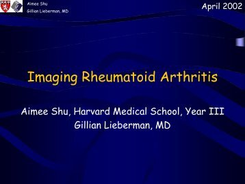 Imaging Rheumatoid Arthritis - Lieberman's eRadiology Learning Sites