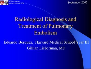 Radiological Diagnosis and Treatment of Pulmonary Embolism