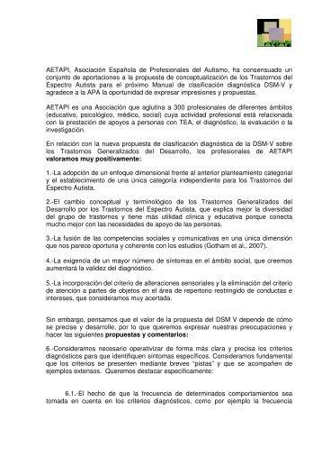AETAPI, Asociación Española de Profesionales del Autismo, ha ...