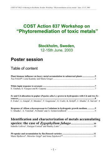 COST Action 837 Workshop on ?Phytoremediation of toxic ... - EPFL