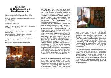 Institut für Heilpädagogik und Sozialtherapie e. V. - und Jugendhilfe ...