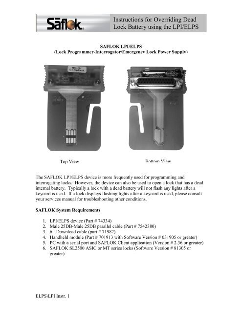 03cdf285c28 293 Array - instructions for overriding dead lock battery using the lpi  elps rh yumpu ...