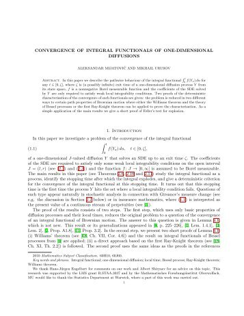 CONVERGENCE OF INTEGRAL FUNCTIONALS OF ONE ...