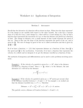 Worksheet 4.4 Applications of Integration
