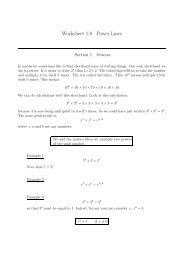 Worksheet 1.8 Power Laws