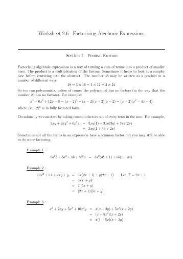 Algebra 1 Unit 8 Factoring Quadratic Trinomials (LC =1) Worksheet ...