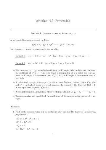 Printables Polynomial Functions Worksheet polynomial functions worksheets davezan math 080 polynomials and worksheet divide