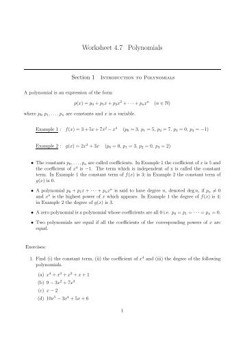 Worksheet For Section 31 Section 31 Is About Graphs Of Polynomial