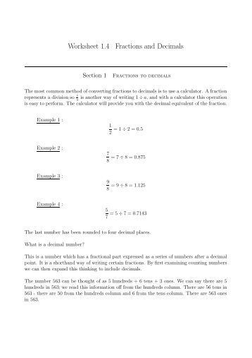 Worksheet 1.4 Fractions and Decimals