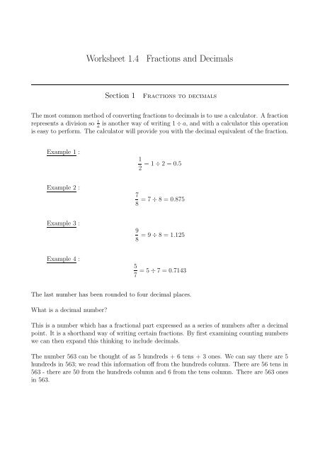 worksheet  fractions and decimals