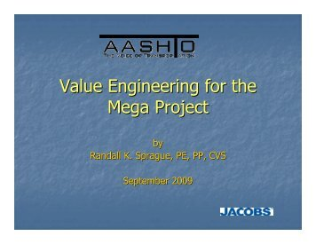 Value Engineering for the Mega Project