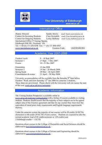 Prerequisites for - University of edinburgh international office ...
