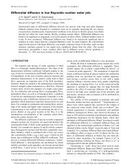 Differential diffusion in low Reynolds number water jets - Clemson ...