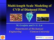Multi-length Scale Modeling of CVD of Diamond Films - Clemson ...