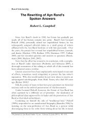 The Rewriting of Ayn Rand's Spoken Answers Robert L. Campbell